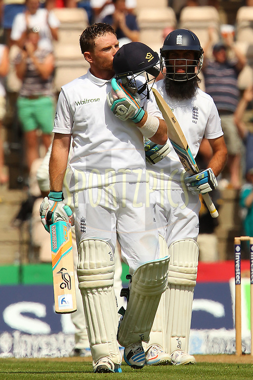 Ian Bell of England celebrates his century during day two of the third Investec Test Match between England and India held at The Ageas Bowl cricket ground in Southampton, England on the 28th July 2014<br /> <br /> Photo by Ron Gaunt / SPORTZPICS/ BCCI