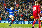 Ryan Jack shoots during the William Hill Scottish Cup quarter final replay match between Rangers and Aberdeen at Ibrox, Glasgow, Scotland on 12 March 2019.