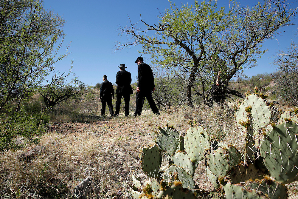A group of U.S. bishops hike through the Arizona desert about 30 miles north of Nogales March 31. They were exploring an area where many migrants make way after illegally crossing into the U.S. from Mexico.  (CNS photo/Nancy Wiechec) (April 1, 2014)