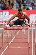 Winner of the Men's 110m Hurdles Final Orlando Ortega (Spain) making his final jump at the Muller Grand Prix at Alexander Stadium, Birmingham, United Kingdom on 18 August 2018. Picture by Ian Stephen.