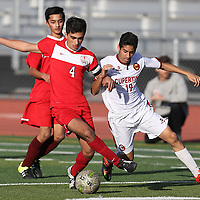 Saratoga vs Prospect in a SCVAL Boys Soccer Game at Cupertino High School, Cupertino CA on 2/17/16. (Photograph by Bill Gerth (Max Preps)