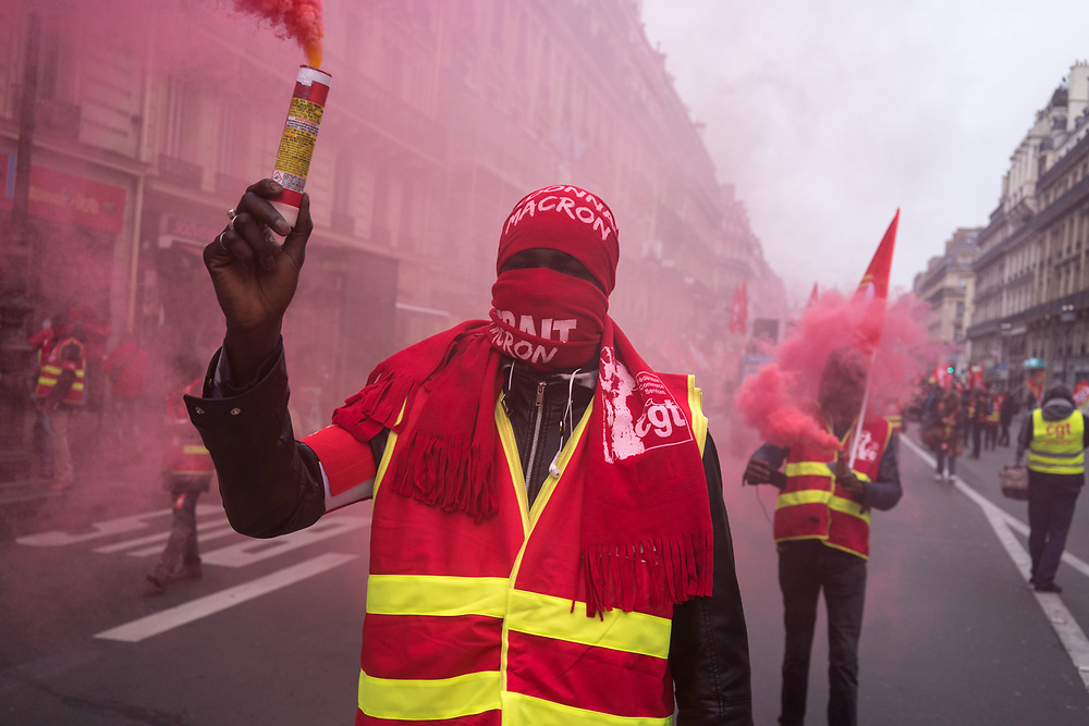 France, Paris, 20 December 2017. National protest by retail and service sectors against already voted government's ruling on reform of labor law.