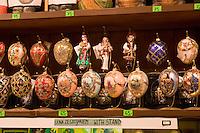 Decorative eggs on sale in the Sukiennice Cloth Hall in Krakow Poland