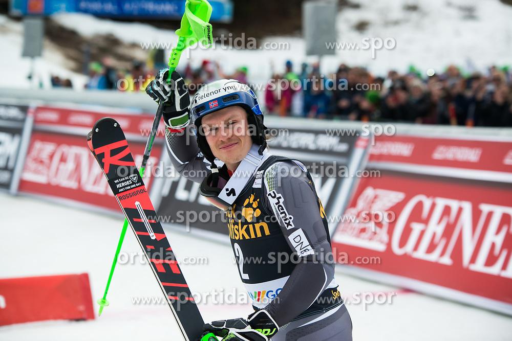 KRISTOFFERSEN Henrik of Norway elebrates during the Audi FIS Alpine Ski World Cup Men's Slalom 58th Vitranc Cup 2019 on March 10, 2019 in Podkoren, Kranjska Gora, Slovenia. Photo by Matic Ritonja / Sportida