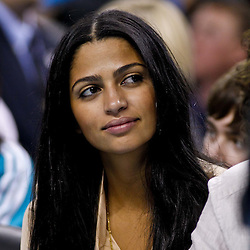 December 15, 2010; Model Camila Alves watches courtside during a game between the Sacramento Kings and the New Orleans Hornets at the New Orleans Arena. Mandatory Credit: Derick E. Hingle