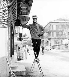 BARBARA MULLEN outside her store in Klosters, Switzerland in january 1964.