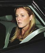 Sarah Ferguson, Duchess of York LEAVES HOME FOR AIRPORT AND ARGENTINA with Princess Eugenie following the death of her mother Susan Barrantes in a car accident.PIC RUSSELL.20.9.98