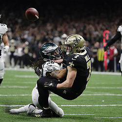 Jan 13, 2019; New Orleans, LA, USA; Philadelphia Eagles free safety Avonte Maddox (29) breaks up a pass intended for New Orleans Saints quarterback Taysom Hill (7) during the third quarter of a NFC Divisional playoff football game at Mercedes-Benz Superdome. Mandatory Credit: Derick E. Hingle-USA TODAY Sports