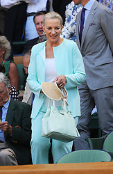Princess Michael of Kent takes her seat  in the Royal Box for the Men's Final at the Wimbledon Tennis Championships in  London, Sunday, 7th July 2013<br /> Picture by Stephen Lock / i-Images