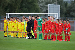 NEWPORT, WALES - Thursday, August 4, 2016: North Wales Academy [yellow] line-up to face the Regional Development squad [red] before the Welsh Football Trust Cymru Cup 2016 at Newport Stadium. (Pic by Paul Greenwood/Propaganda)