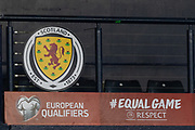 Scotland proudly display their badge during the UEFA European 2020 Qualifier match between Scotland and Kazakhstan at Hampden Park, Glasgow, United Kingdom on 19 November 2019.