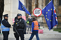 © Licensed to London News Pictures. 29/01/2019. London, UK. Armed police watch over pro and anti Brexit demonstrators outside the Houses of Parliament in Westminster, London. MPs will today (Tues) vote on a series of amendments to the Prime Minister's plans that could shape the future direction of Brexit. . Photo credit: Ben Cawthra/LNP