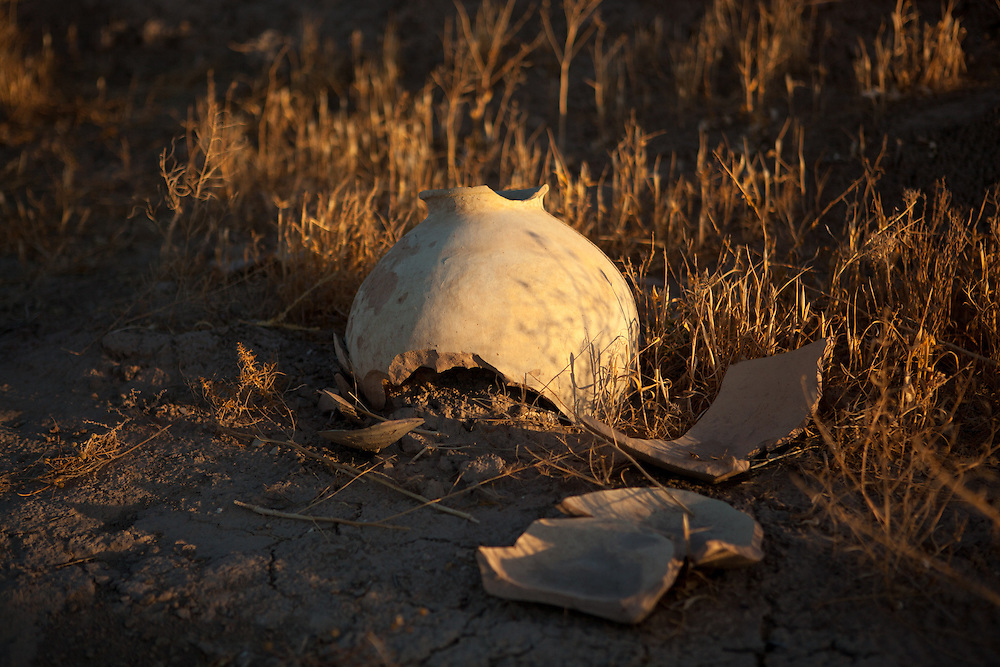 Broken pieces of pottery in the late afternoon sunlight, Goner Depe archaeological site, Turkmenistan