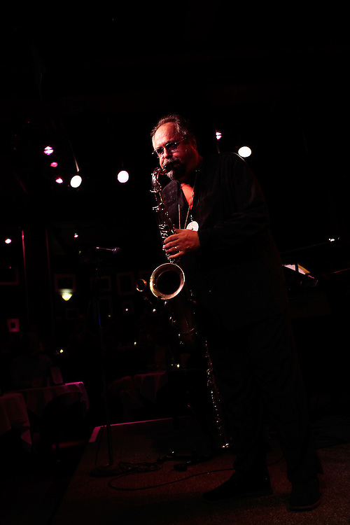 "Saxophonist Joe Lovano performs ""Coltrane Revisited"" at the Birdland Jazz Club on September 23, 2009 in New York City. photo by Joe Kohen for The New York Times"