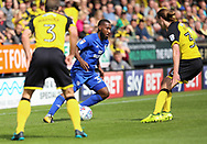 Jackson Irvine of Burton Albion and Junior Hoilett of Cardiff City during the Sky Bet Championship match at the Pirelli Stadium, Burton upon Trent<br /> Picture by Mike Griffiths/Focus Images Ltd +44 7766 223933<br /> 05/08/2017