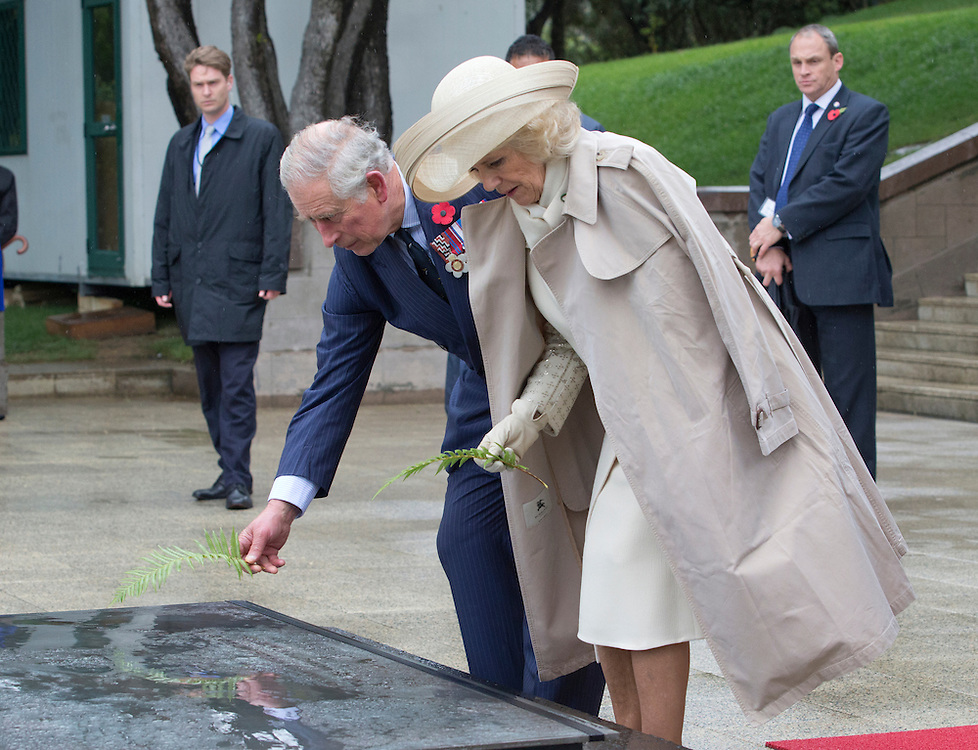 Prince Charles, Prince of Wales and Camilla, Duchess of Cornwall laying ferns on the Tomb of the Unknown Warrior at the National War Memorial,, Wellington, New Zealand, Wednesday, November 04, 2015. Credit:SNPA / NZ Herald, Marl Mitchell **POOL**