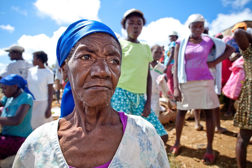 An elderly woman in a market near Caye Michel in the Massif de la Hotte, Haiti