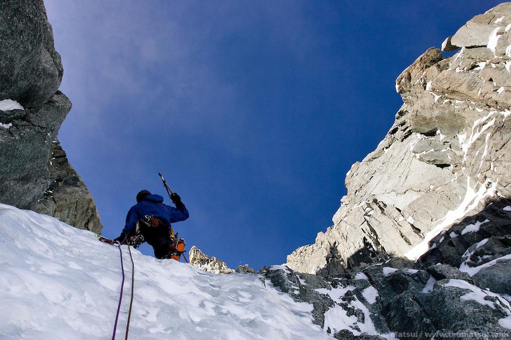 Colin Haley climbing the Albonini-Gabaru on Mont Blanc du Tacul, Chamonix France