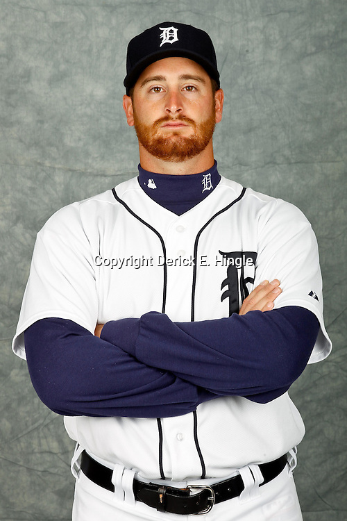 February 28, 2012; Lakeland, FL, USA; Detroit Tigers relief pitcher Tyler Stohr (38) poses for photo day in the rec room at the Detroit Tigers Headquarters.  Mandatory Credit: Derick E. Hingle-US PRESSWIRE