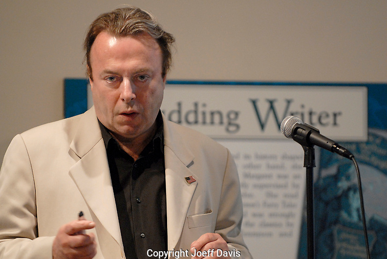 "ATLANTA, GA - May 16, 2007: Author Christopher Hitchens visited the Margaret Mitchell House to promote his book ""God is Not Great: How Religion Poisons Everything.""  He debated Emory Christian ethics Professor Timothy Jackson about the existence of God and the worthiness of religion in two sold out events at the Margaret Mitchell House, in Atlanta, Georgia. The debate was moderated by Cynthia Tucker, editor, Atlanta Journal-Constitution."
