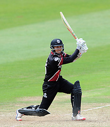 Somerset's Tom Cooper drives the ball - Photo mandatory by-line: Harry Trump/JMP - Mobile: 07966 386802 - 29/07/15 - SPORT - CRICKET - Somerset v Durham - Royal London One Day Cup - The County Ground, Taunton, England.