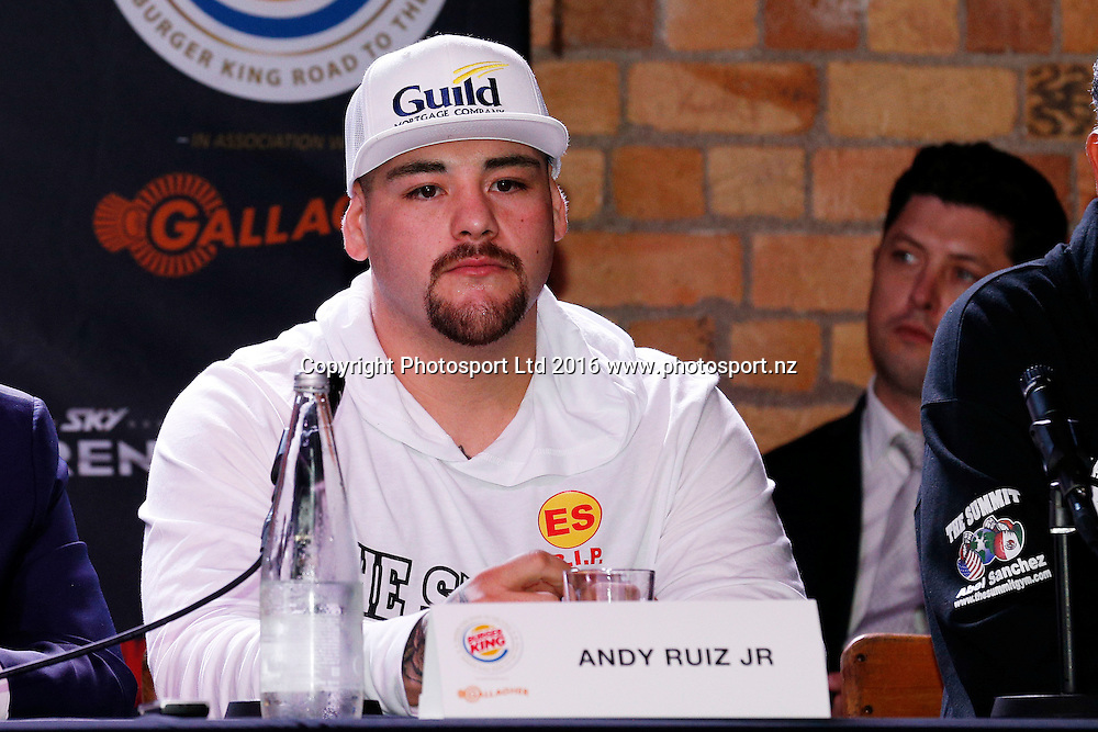 Andy Ruiz Jr, Final press conference before the December 10, Parker v Ruiz, WBO world boxing heavyweight title fight. Rec Bar, Auckland. 8 December 2016 / www.photosport.nz