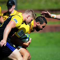 James O'Reilly and Ben May takes the ball up during the  Hurricanes rugby union training at Rugby League Park in Wellington, New Zealand on Wednesday, 24 January 2018. Photo: Dave Lintott / lintottphoto.co.nz