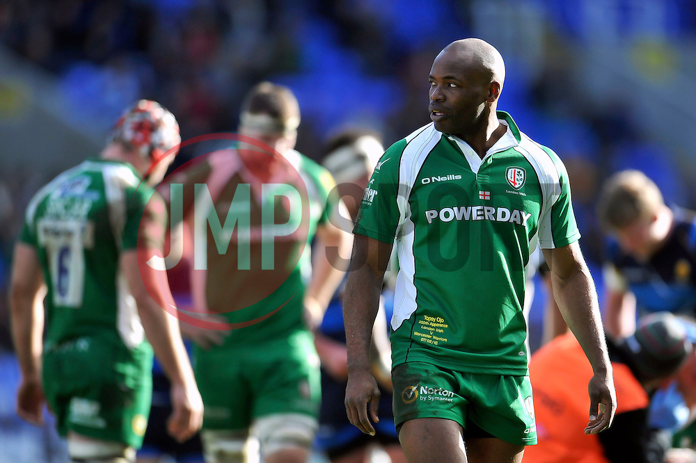 Topsy Ojo of London Irish looks on - Mandatory byline: Patrick Khachfe/JMP - 07966 386802 - 07/02/2016 - RUGBY UNION - Madejski Stadium - Reading, England - London Irish v Worcester Warriors - Aviva Premiership.