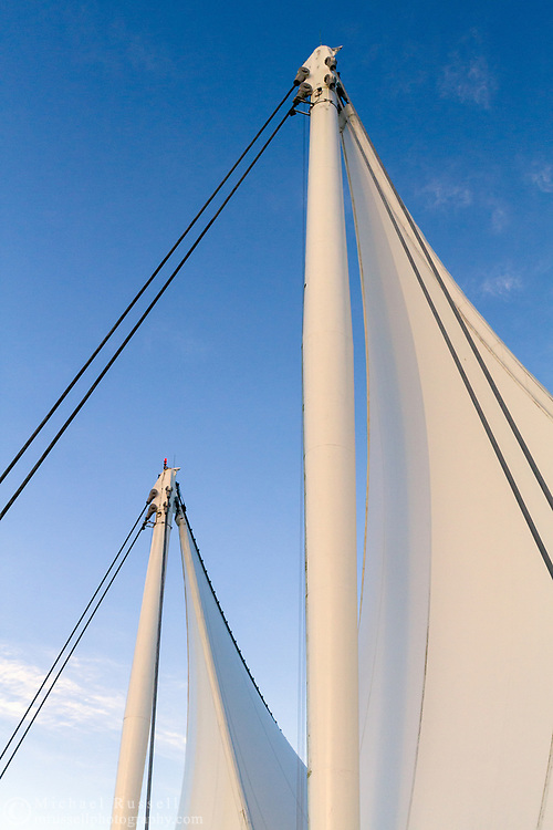 """The """"sails"""" of Canada Place Vancouver, British Columbia, Canada.  Since the newer Vancouver Convention Centre was built Canada Place has also come to be known as the Vancouver Convention Center East.  Photographed in Vancouver, British Columbia, Canada."""