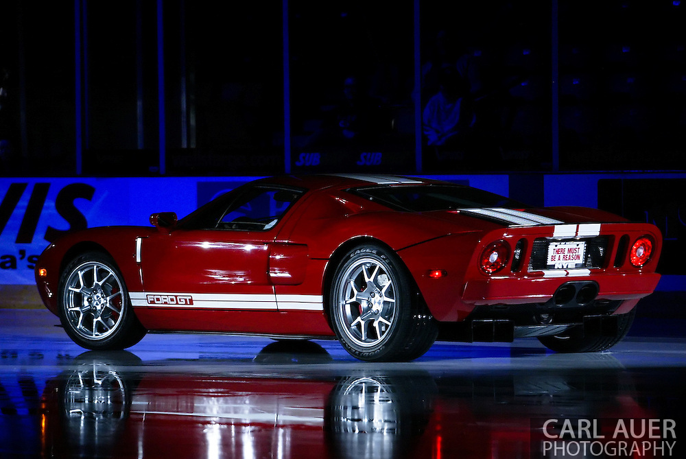 10/14/2006 - Anchorage, Alaska: Prior to the Seawolves and Nebraska-Omaha game, a 2007 Ford GT went for a little spin on the ice at Sullivan Arena.  One lucky Alaskan was to drive away in this 500 horsepower piece of Detroit Muscle in the most expensive car give-a-way in the history of the State of Alaska