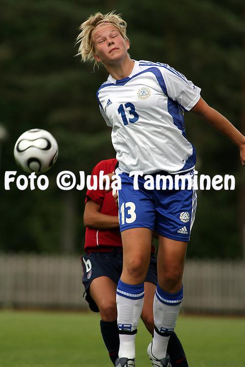20.07.2006, Eerikkil?, Finland..Alle 20-vuotiaiden naisten maaottelu Suomi - Yhdysvallat / Women's Under-20 friendly international match Finland v USA..Leena Puranen - Finland.©Juha Tamminen.....ARK:k