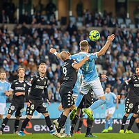 2019-10-06 | Malmö, Sweden: Malmö FF (17) Rasmus Bengtsson claims it should be a penalty in this situation during the game between Malmö FF and IFK Göteborg at Malmö Stadion ( Photo by: Roger Linde | Swe Press Photo )<br /> <br /> Keywords: Malmö Stadion, Malmö, Soccer, Allsvenskan, Malmö FF, IFK Göteborg, mg191006