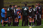 The backs stop for a team talk.<br /> All Blacks Training Session at Rugby League Park, Newtown, Wellington. Tuesday 22 July 2008. Photo: Dave Lintott/PHOTOSPORT