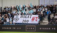 FC Helsingør fans hylder Anders Holst (FC Helsingør) for hans kamp nummer 200 under kampen i 2. Division mellem FC Helsingør og Holbæk B&I den 6. september 2019 på Helsingør Ny Stadion (Foto: Claus Birch).