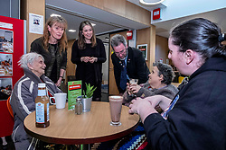 Pictured: Aileen Campbell and Councillor Steven Heddle (reprsenting COSLA) met local regular users of the Hub in the shape of mother and daughter Cathy and April Caesar and Susan Howell (black top)<br />