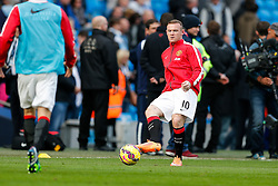 Wayne Rooney of Manchester United warms up - Photo mandatory by-line: Rogan Thomson/JMP - 07966 386802 - 02/11/2014 - SPORT - FOOTBALL - Manchester, England - Etihad Stadium - Manchester City v Manchester United - Barclays Premier League.