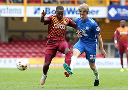 Chris Forrester of Peterborough United in action with Bradford City's Mark Marshall - Mandatory byline: Joe Dent/JMP - 07966386802 - 26/09/2015 - FOOTBALL - Coral Windows Stadium -Bradford,England - Bradford City v Peterborough United - Sky Bet League One