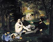 Le déjeuner sur l'herbe (French, 'The Lunch on the Grass') Oil on canvas by Édouard Manet. Painted 1862 -1863, its juxtaposition of a female nude with fully dressed men sparked controversy when the work was first exhibited at the Salon des Refusés. Edouar