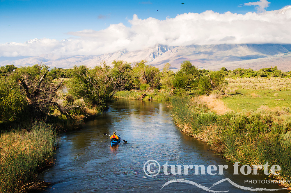 Man kayaks Owens River with Eastern Sierras covered in clouds in background, California.