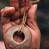 John Mangabchan, owner of smallest Rai in the world, Stone money, Yap, Wa`ab, Waqab, Federated States of Micronesia, islands in the Caroline Islands