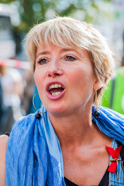 """People's Climate march, London – As part of an international day of protest - led by Emma Thompson (pictured)and Vivienne Westwood - people march to demand: """"a world with an economy that works for people and the planet; a world safe from the ravages of climate change; and a world with good jobs, clean air, and healthy communities for everyone.  The march started in Temple Place and ended outside Parliament – Westminster, London, UK,  21st Sept  2014. Guy Bell, 07771 786236, guy@gbphotos.com"""