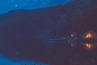 Man trail running Mcfee knob in Blue Ridge Mountains.