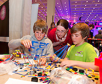Medtronic judge Lynne Kerr keeps a close eye on Conor Lee and Jack Egan from Clarinbridge National School who took part in the  Medtronic Knex Challenge at the Radisson blu Hotel.  Medtronic KNEX Challenge is for  primary school children completing  exceptional tasks which will be judged on the level of engineering, innovation and communication displayed by the teams.. .The final event of the week is the Medtronic  Junior FIRST LEGO League challenge on THURSDAY. This is the second year The Galway Education Centre has hosted this competition - one of only six countries in the world who do so. Following the success of last year, over 500 school children from all over the country are expected to come along and practice their robotics, presentation and teamwork skills live on the night!. .Bernard Kirk, Director of The Galway Education Centre says; ?Working on this three day event every year is fun and exciting and always surprising. The talent, instinct and drive we discover in these young children is an inspiration to all of us. We look forward to the continued success of all of our challenges which would not be possible without the support of companies like Medtronic, SAP, HP and LEGO?.. .All of these events are open to the public and free admission. They will also be streamed live on line at www.galwayeducationcentre.ie. Photo:Andrew Downes.