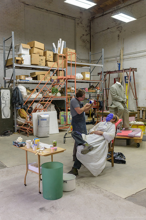 The making of a face mask for the Col. Oldham statue, photographed Oct. 12, 2016 at the artist's studio in Louisville, Ky. (Photo by Brian Bohannon)