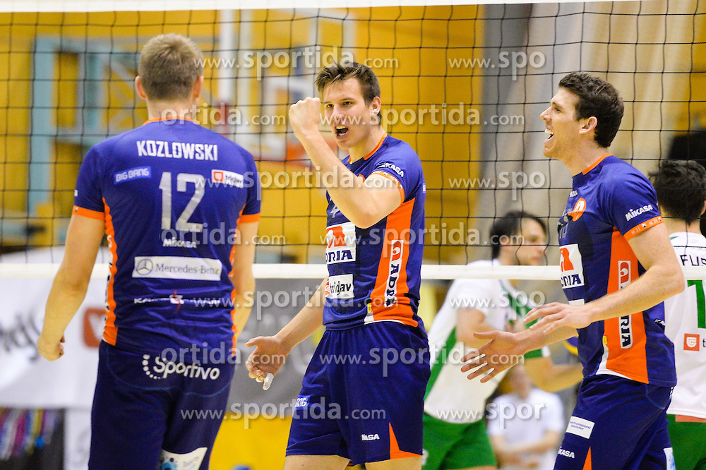 Jan Kozamernik and other players of ACH celebrate during during volleyball game between OK Panvita Pomgrad and ACH Volley in 2nd semifinal match of  Slovenian National Championship 2015, on April 5, 2015 in Murska Sobota, Slovenia. Photo by Mario Horvat / Sportida
