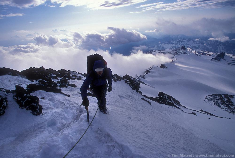 Dan Aylward approaches Ptarmigan Ridge on Mt. Rainier.
