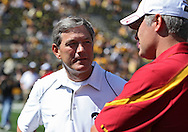 September 11 2010: Iowa head coach Kirk Ferentz (from left) talks with Iowa State head coach Paul Rhoads before the start of the NCAA football game between the Iowa State Cyclones and the Iowa Hawkeyes at Kinnick Stadium in Iowa City, Iowa on Saturday September 11, 2010. Iowa defeated Iowa State 35-7.