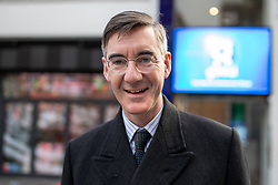 © Licensed to London News Pictures. 10/12/2018. London, UK. Jacob Rees-Mogg leaves the LBC studios after speaking to listeners about Brexit. Tomorrow MPs will vote on British Prime Minister Theresa May's withdrawal deal. Photo credit : Tom Nicholson/LNP