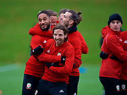 CARDIFF, WALES - Monday, November 19, 2018: Wales' L-R captain Ashley Williams, Joe Allen and Gareth Bale during a training session at the Vale Resort ahead of the International Friendly match between Albania and Wales. (Pic by David Rawcliffe/Propaganda)