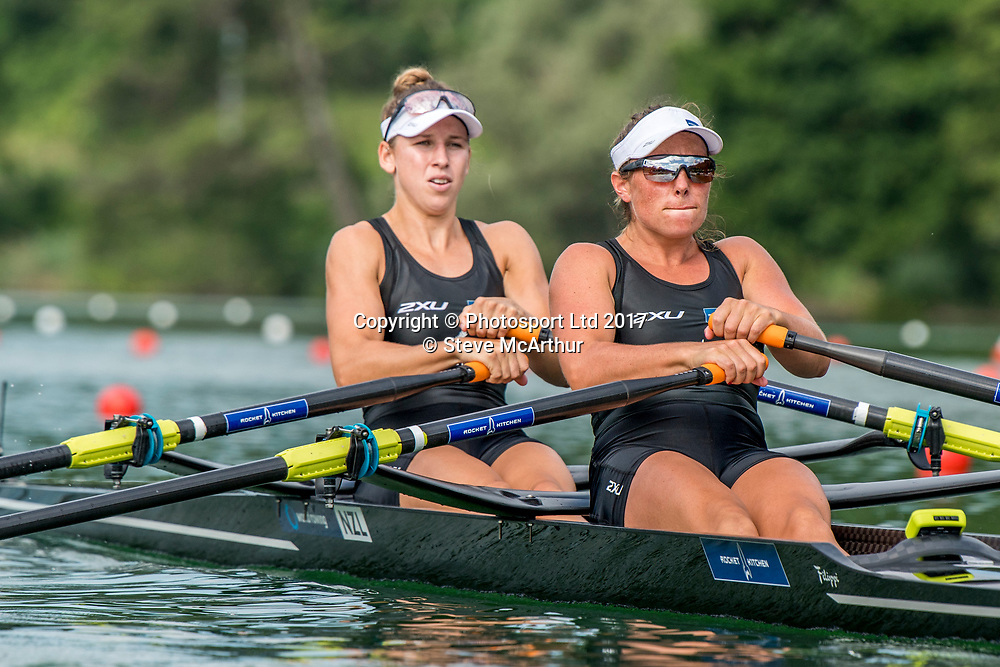 Olivia Loe (Avon RC) and Brooke Donoghue (Waikato RC) NZ Women?s Double Scull racing the qualification heat at WCIII on the Rotsee, Lucerne, Switzerland, Friday 7th July 2017 © Copyright Steve McArthur / www.photosport.nz